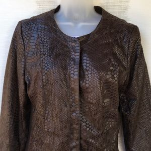 Dana Buchman Jackets & Coats - Dana Buchman NEW BROWN snake print JACKET MED
